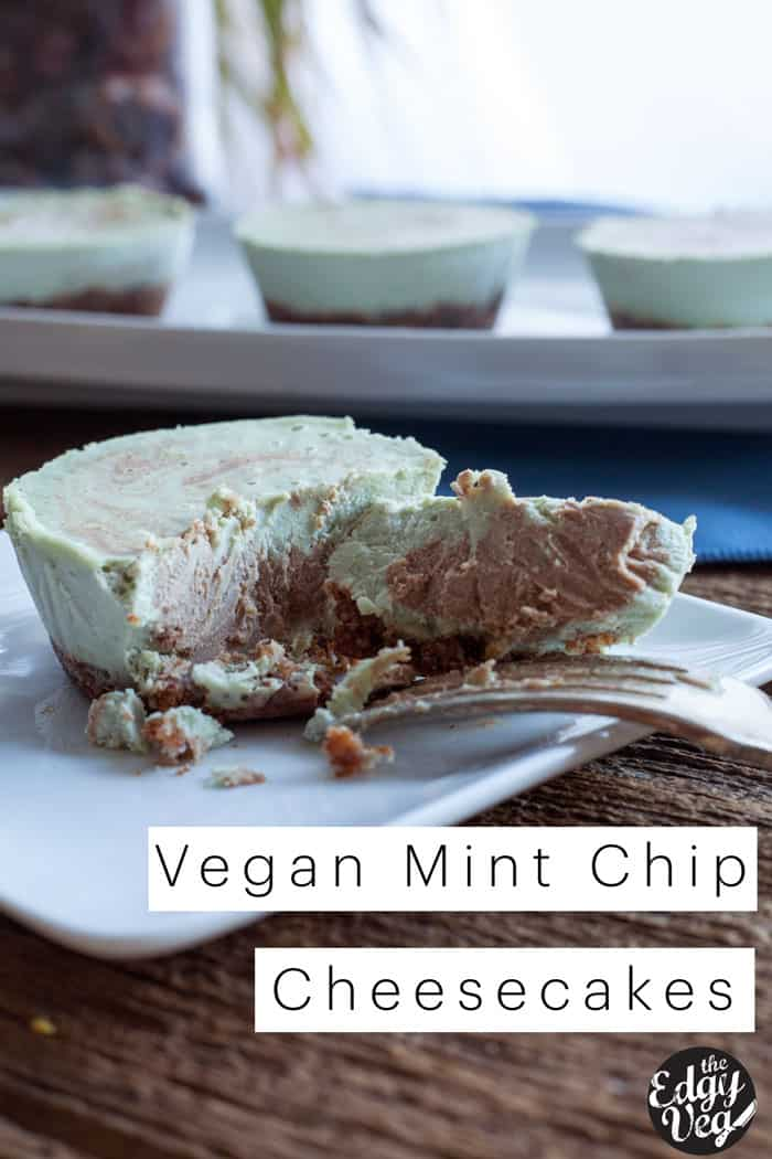 Vegan Cheesecake Recipe : Mini Mint Chip Cheese Cakes (Gluten Free)