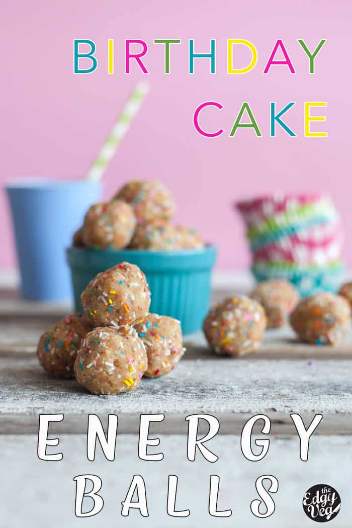 Stupendous No Bake Energy Balls Birthday Cake Protein Bites Vegan The Personalised Birthday Cards Veneteletsinfo