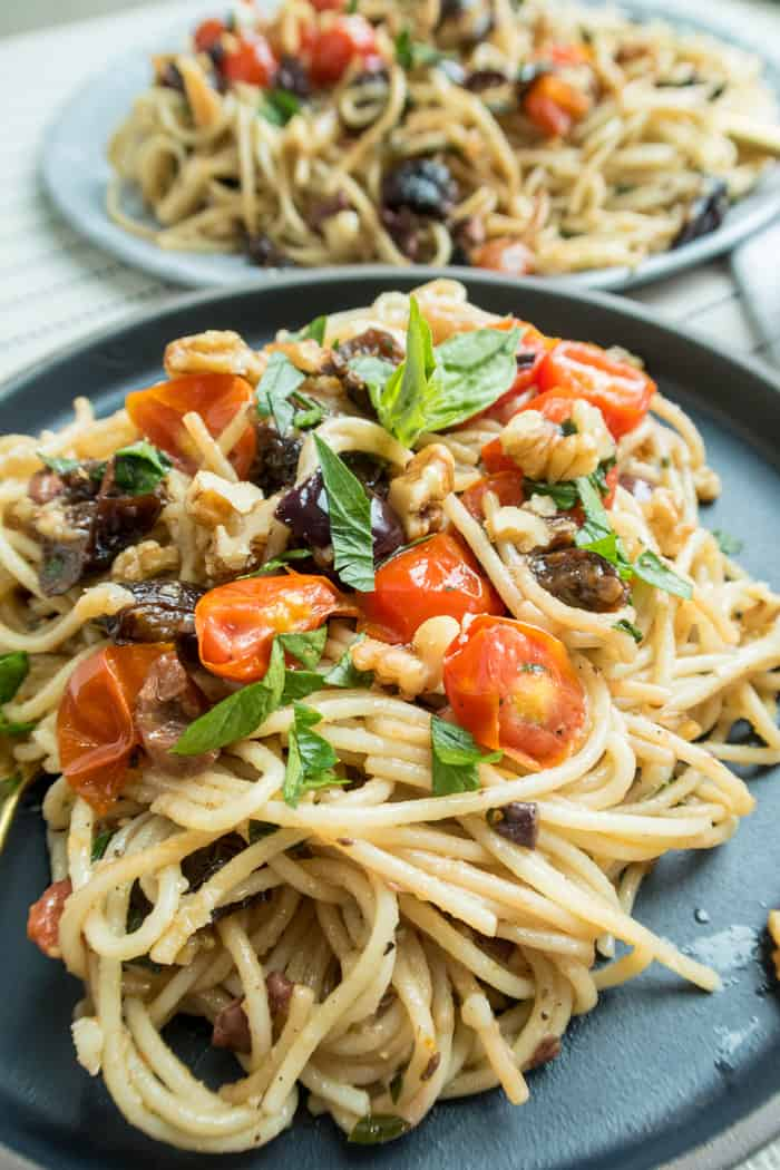 Vegan Spaghetti Recipe | How To Make Healthy Vegan Spaghetti with Olives, Prunes & Tomatoes