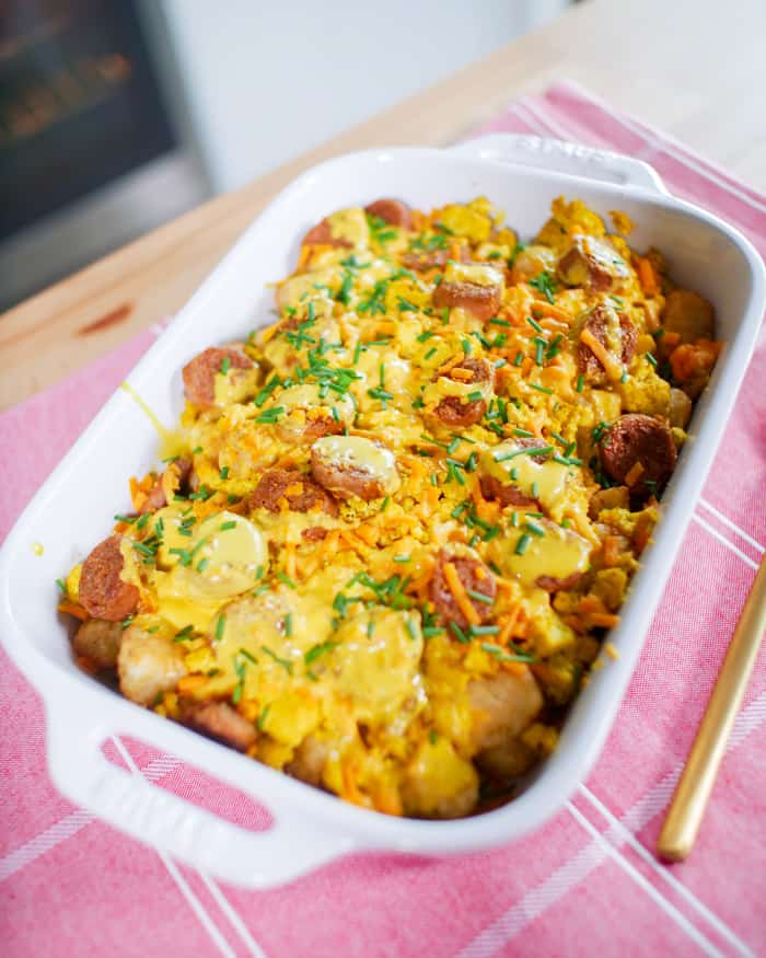 The BEST Tater Tot Breakfast Casserole Recipe {Dairy-Free, Vegetarian, Vegan}