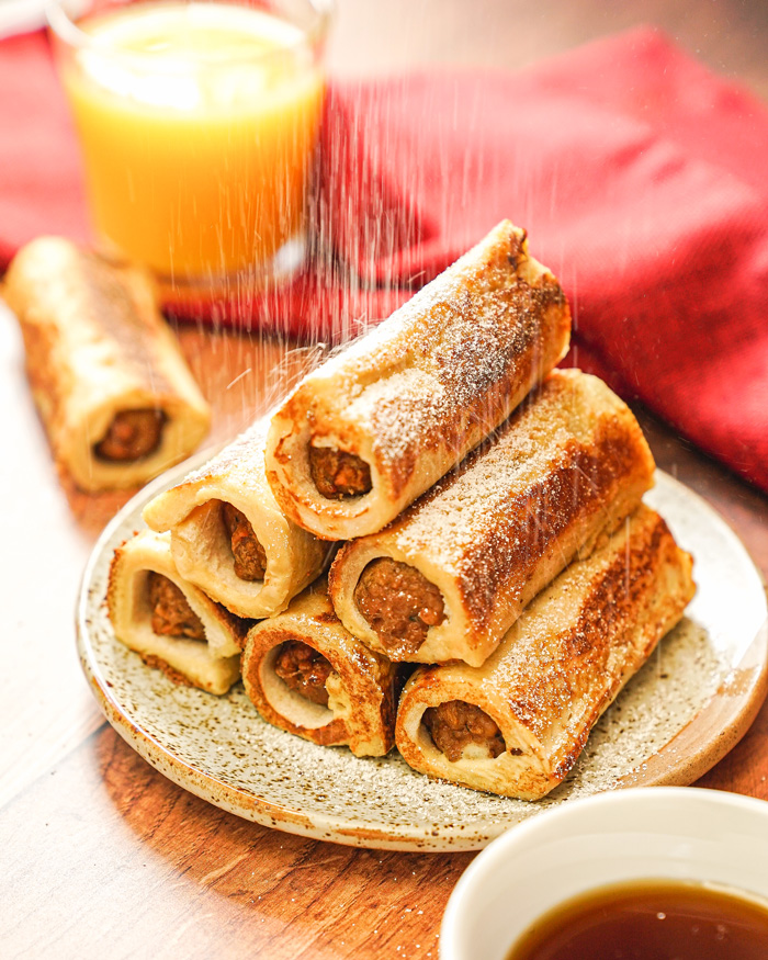 French Toast Sausage Roll-Ups Recipe
